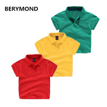 High Quality Kids Boys Polo Shirt Baby Boy Girl Clothes Summer Short Sleeve Cotton Solid White Red Yellow Polo Shirt 7 Color(China)