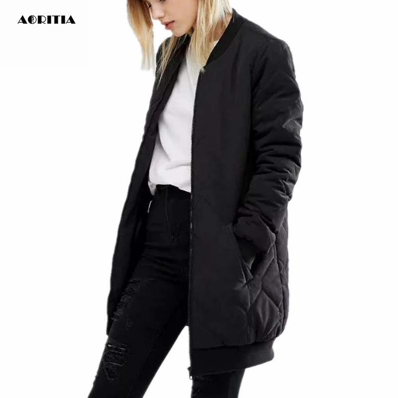 2016 Women winter Long Jacket V-neck Coat Pilot Jacket Casacos Feminino Warm Base Ball JacketÎäåæäà è àêñåññóàðû<br><br>