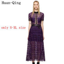 2017 Runway Spring Fashion Short Sleeve Dress Elegant Designer Lace Print Maxi Long Vestidos Hippie Chic Boho People Casual