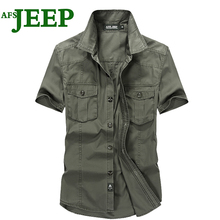 AFS JEEP Men's Best Selling Solid color Cotton Men's Shirt Office Brand Short Sleeves Male Army Dress Men Shirts High Quality 60(China)