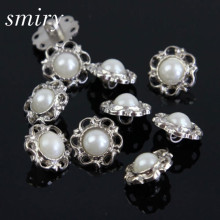 smiry New Style 40Pcs Rhinestone Pearl Shank Combined Button Flower Flatback Scrapbooking for Phone Bag Wedding DIY Craft