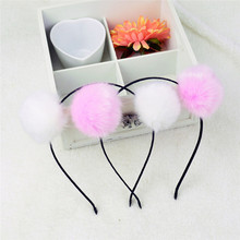 1Pc fashion Rabbit Fur Ball Furry Ears Fluffy Women Headband Hair band Beautiful Hair Accessories(China)