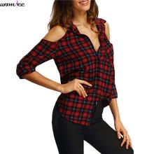 Womdee Long Casual Shirt Women off Shoulder Boho Blouses Shirts Summer Tops Lapel flannel Red Autumn plaid Blouse women 2017(China)