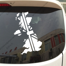 Map and Flag of UK British Union Jack Car Decal Sticker Vinyl Truck Boat Die cut no background pick color and size