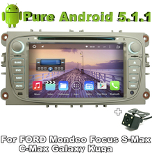 "7"" 2 din Quad Core Android 5.1.1 Car DVD Silver Color For FORD S-MAX FOCUS MONDEO Galaxy Kuga C-Max with GPS Rear View Camera"