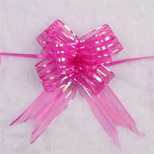 10pcs/lot 4 Color 3CM*50CM Organza Pull Bows Ribbon Wedding Centerpieces Wedding Car Decoration Gift Packaging Packing Wrap