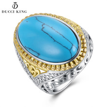 Fashion Big Ring For Women Men Vintage Oval Turquoises Stone Kallaite Knuckle Female Male Finger Ring Retro Punk Party Jewelry