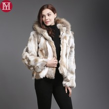 New Natural Real Rabbit Fur Coat Women Winter Rabbit Fur Short Jacket With Raccoon Fur Collar Real Rabbit Fur Hooded Overcoat