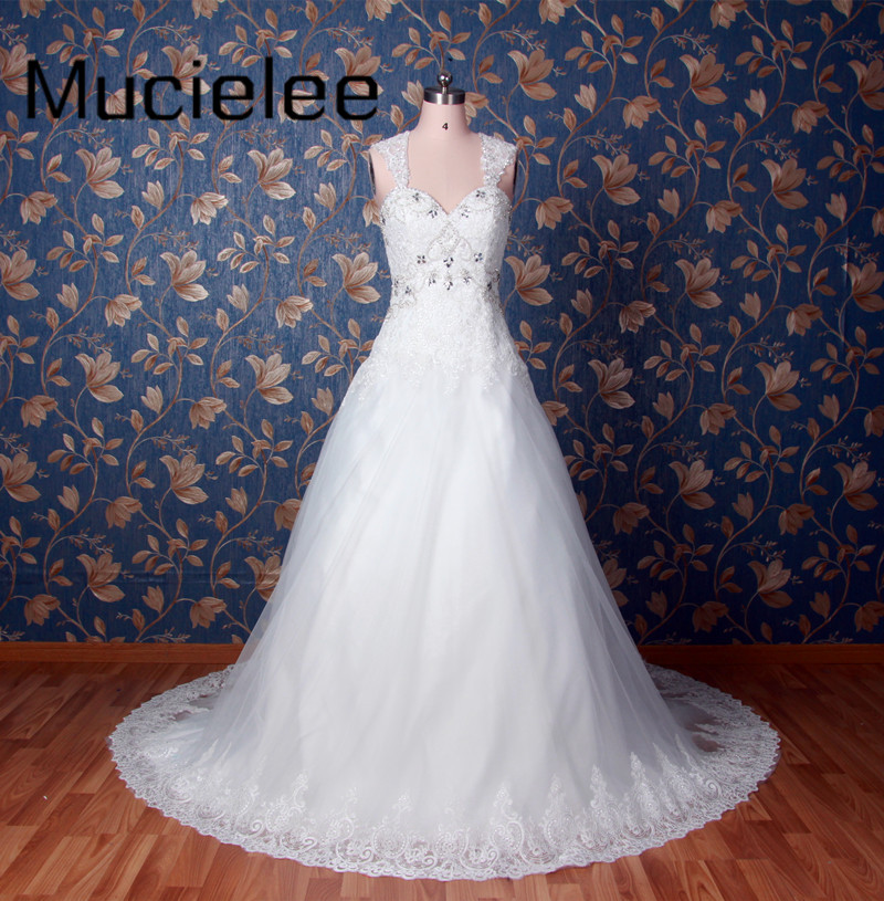 Mucielee Real Sample Luxury Beading Wedding Dress 2017 Lace Back Lace Wedding Gowns Bridal Dress