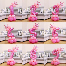 13pcs/set Crown Number foil Balloons Digit Helium Ballons Baby Birthday Party Wedding Decoration Event Party Supplies Show