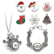 2017 Ginger Snaps Button Snowman Necklace Tassel Snap Button Bracelet With 6 Piece Snap Button 18MM Jewelry Christmas Gift(China)