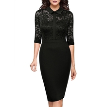 Buy Womens Elegant Vintage Black Lace Peplum See One Piece Dress Suit Casual Party Work Office Sheath Fitted Bodycon Dress for $19.40 in AliExpress store