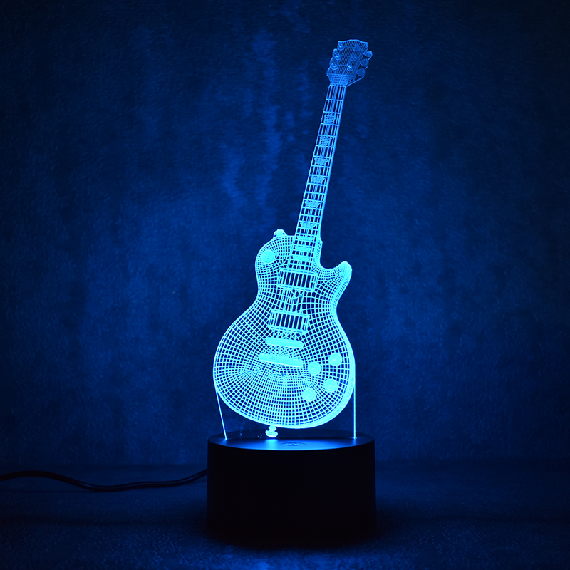3D Led Visual Colorful USB Table Lamp Lampara Baby Sleeping Night Light Creative Fashion Music Electric Guitar Lamp Decor Gifts