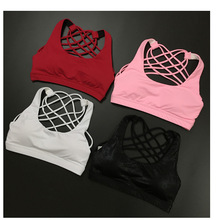 Sexy women yoga sport bra with pad vest sleeveles shirt back cross tank top crop tops dry quick summer fitness running
