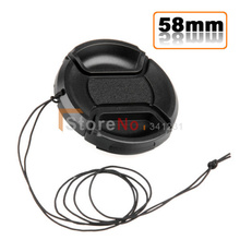 Free shipping worldwide 58mm Center Pinch Snap on Front lens Cap for  canon nikon sony Lens / Filters