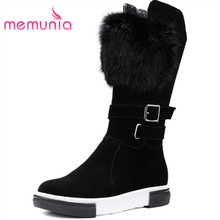 MEMUNIA Top quality nubuck genuine leather boots women zip buckle autumn winter mid calf boots punk fashion boots flat shoes