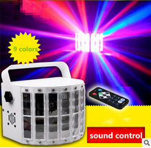 remote control sound control Stage Laser light 9 color LED Butterfly lamp Mini Small Endless sword Bar KTV Ballroom Flash lamp