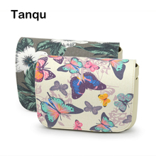 TANQU New Floral Cartoon Fabric PU Leather Flap Cover lid Clamshell with Magnetic lock Snap Fastener for Obag O Pocket bag