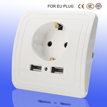socket with usb 5V 2A Dual Wall Socket eu Ports Charger 16A 250V kitchen plug sockets Electrical Outlet