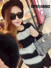 Europe 2017 women's high-end black and white stripes Plush mink cashmere short coat sweater cardigan Free Shipping JN262