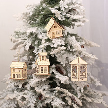 2017 New Christmas Tree Decorations Mini LED Wooden House Home Ornaments Xmas Tree Pendants Party supplies Fashion Gift For kids(China)