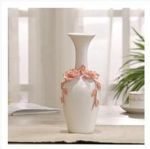 ceramic red white flowers vase home decor large floor vases for wedding decoration ceramic handicraft porcelain figurines(China)
