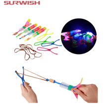 Surwish Large LED Light Slingshot Elastic Arrow Rocket Helicopter Flying Toy Party Fun Gift - Color Random(China)