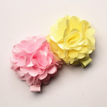 24pc/lot Cute Floral Gauze Hair Clips Lovely Kids Hairpin Chiffon Felt Flower Girls New Arrival Barrettes Free Shipping(China)