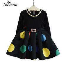 Girls Autumn Winter Dress Black Full Sleeve Colorful Dot Printed Kids Princess Dresses for Toddler Little Girl Outwear Clothes(China)