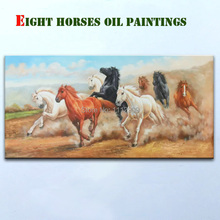 Hand-painted Animals oil paintings on canvas Home Decor Mural Paintings Fashion Eight  Horse Wall Art  for Living Room