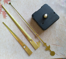 50pcs Best Quality Sweep 13mm Shaft Wall Clock Mechanism with Gold Large Hands