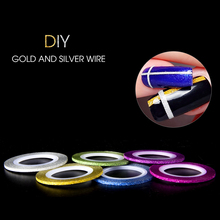 12pcs/lot 2mm Golden Glitter Strip Tape Line Nail Art Decoration Sticker DIY Nail Art Striping Tape Line Case Shinning Tip
