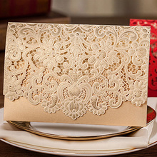 1pcs Gold Red White Laser Cut Luxury Flora Wedding Invitations Card Elegant Lace Favor Envelopes Wedding Party Decoration(China)