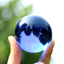 Blue Crystal Ball Feng shui Magic Glass Ball Globe Sphere Figurines Miniatures Ornaments For Gifts Home Decoration Accessories(China)
