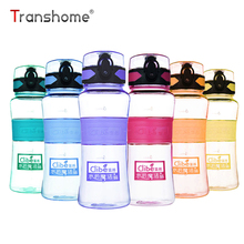 Transhome New Sports Water Bottle 450ml Leak-proof Seal Bicycle Plastic Bottle With Cover Lip Filter BPA Free Drinking Bottles