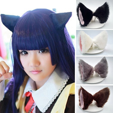 2pcs Cat Ears Hair Clips Animal Hair Hoop Ornament Trinket bandeau Make Up Tool Korean hair accessories festival easter gift(China)