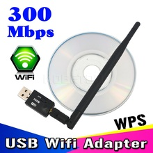 KEBETEME High speed 300Mbps Mini Wireless USB WiFi Adapter lan card With External Antenna and WPS function button for laptop(China)