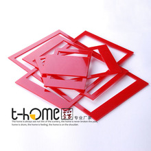 New arrival Acrylic crystal three-dimensional wall stickers photo frame Three colors Red Black White(China)