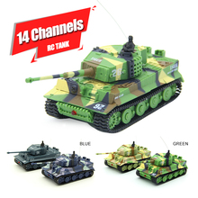 1:73 14CH Mini RC Tank Toys Remote Control  Army Tanks Toys Tiger Flashing Battle Tank Toy Remote Tank RC With Radio Controller!