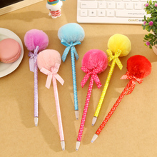 1pcs/lot  New Fashion  Bow Plush Ball Point Pen Stationery Ribbon Ball Pen office and school supplier  retail