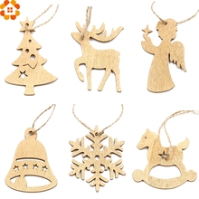 12PCS Gold&Sliver DIY Christmas Snowflakes Wooden Pendants Ornaments Christmas Party Decorations Xmas Tree Ornaments Kids Gifts(China)