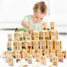 1SET= 100Pcs, BOHS Learn Chinese Mandarin Wooden Domino Blocks eco-friendly Double Sides sets(China)