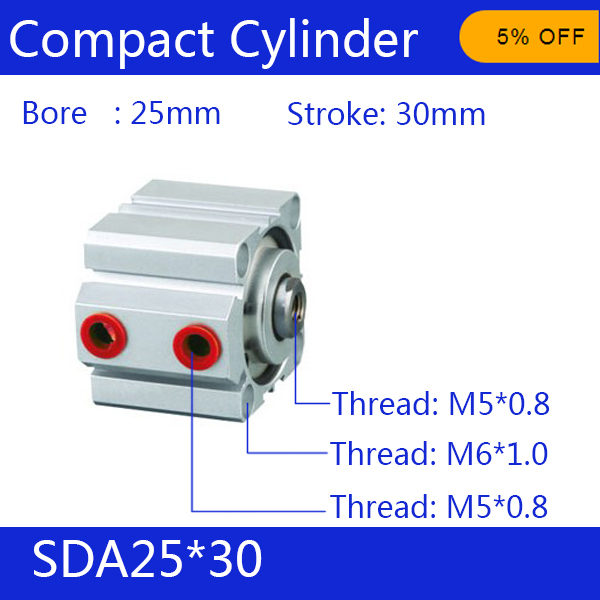 SDA25*30 Free shipping 25mm Bore 30mm Stroke Compact Air Cylinders SDA25X30 Dual Action Air Pneumatic Cylinder<br><br>Aliexpress