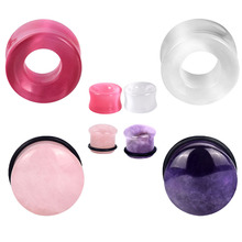 4pairs/lot Natural Stone Ear Plug Flare Ear Gauge Expander Opal Stone Plugs and Tunnels Ear Stretcher for Piercing Jewelry