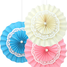 5pcs/lot 16''(40cm) Largest Tissue Lace Double Layer Pompom Hand Cutting Paper Fan Colorful DIY Folding Round Garlands for Event