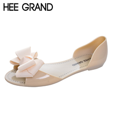 HEE GRAND Jelly Sandals 2017 New Beach Jelly Shoes Woman Hot Summer Butterfly-knot Slip On Flats Casual Women Shoes XWZ3344