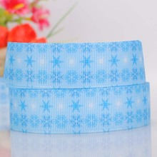 "10yards 7/8"" 22mm blue white printed snowflakes ribbon,lovely blue color snow print cartoon ribbon Free shipping"