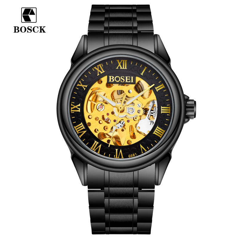 2017 new Black Mens Skeleton WristWatch Stainless steel Antique Steampunk Casual Automatic Skeleton Mechanical Watches Men 6681<br>