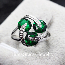 ThreeGraces Top Quality Silver Color Wind Wheel Vivi Green Cubic Zirconia Stones Rings Anniversary Gifts For Women RG013