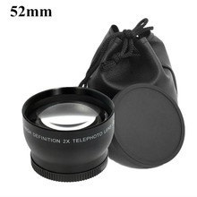 52mm Telephoto Lens 2.0X 52 2X Optical Tele Lenses Bag Front  Back Cap 62mm for Nikon D5000 D5100 D3100 D7000 D3200 D80 D90 1pcs